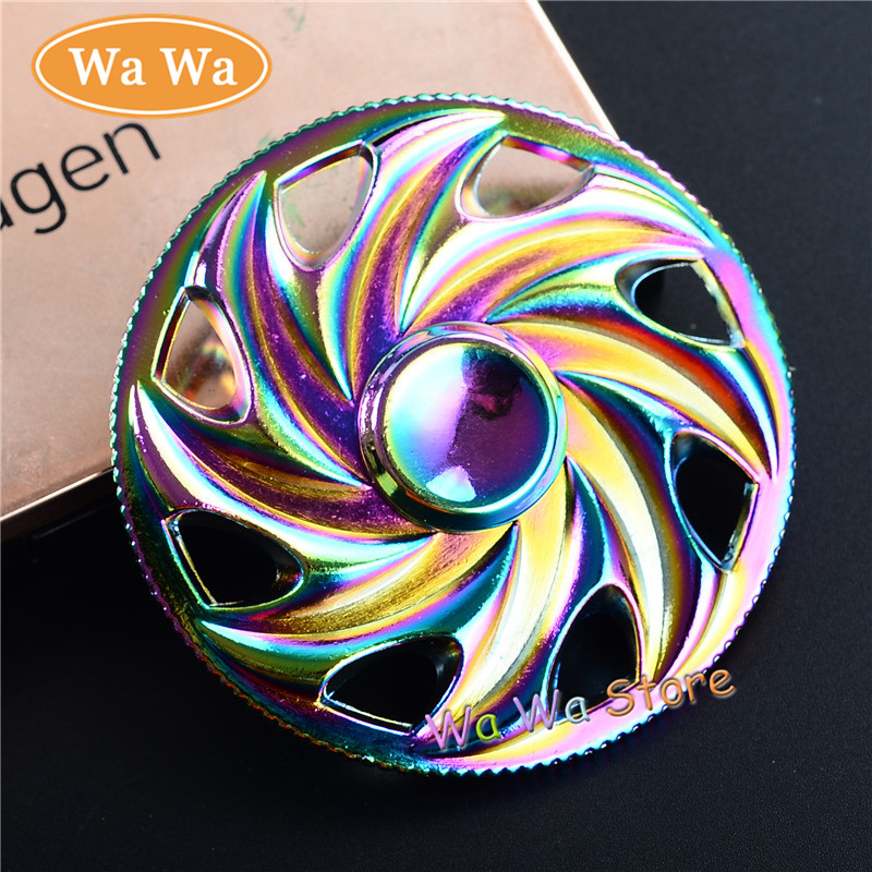 Rainbow Fire Wheel Hand Fingertip Fidget Spinner Stress Cube Focus and ADHD EDC Anti Stress Relief