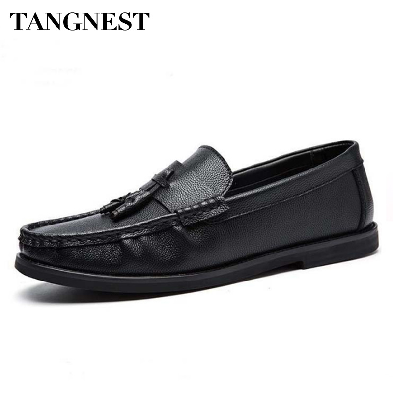 Tangnest Genuine Leather Men Loafers Spring New Breathable Casual Shoes Slip On Drving Shoes Solid Light Men Moccasins XMR2808