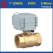 "NPT/BSP Brass Valve 1"" (DN25) DC5V 2 Wires Motorized Ball Valve With Manual Override For HVAC Water Application"
