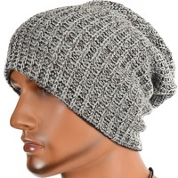 Mens Double-layer Knitted Beanie Cap Slouchy Skullcap Summer Winter Hat FORBUSITE