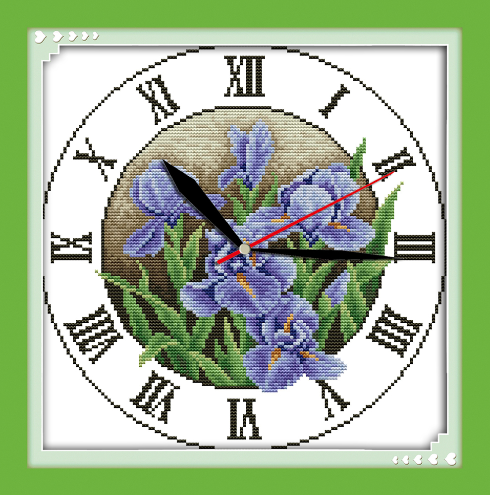 Iris clock face cross stitch kit 14ct 11ct count print canvas wall iris clock face cross stitch kit 14ct 11ct count print canvas wall clock stitching embroidery diy handmade needlework in package from home garden on nvjuhfo Image collections