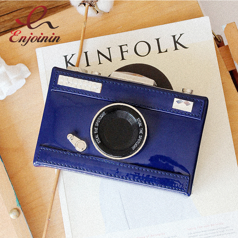 Vintage fashion pu leather camera model casual personality clutch bag ladies chain shoulder bag handbag mini purse messenger  fun fashion personality disposable leather pu leather chain shoulder bag handbag female crossbody mini messenger bag purse