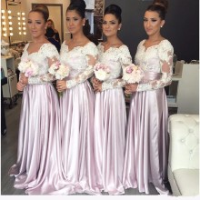 Custom Made Long Sleeves Bridesmaid Dress Good Design Lace Satin A Line  Maid of Honor Dresses Gowns Hot Sale