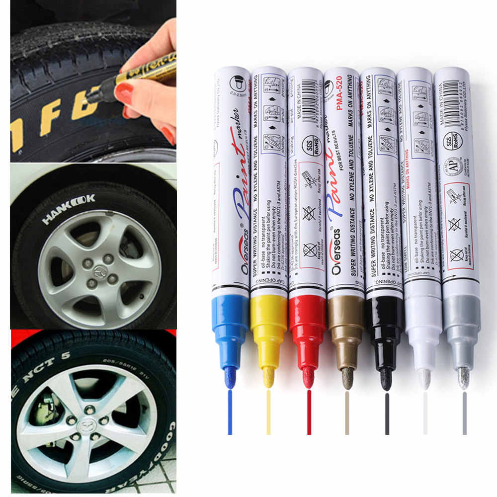 Colorido estilo à prova dwaterproof água caneta carro caminhão pneus piso cd metal permanente tinta marcadores pneu grafite oleosa