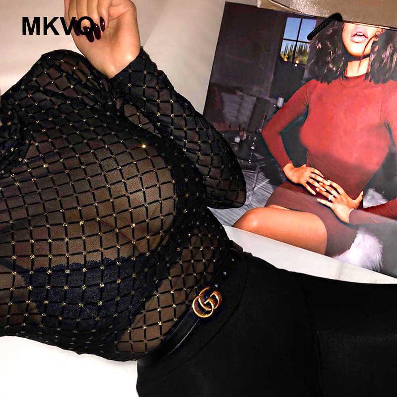 Женский Ромбический сетчатый марлевый перспективный сексуальный клубный комбинезон модный длинный рукав Высокий воротник боди mujer Черный Боди женские DHL