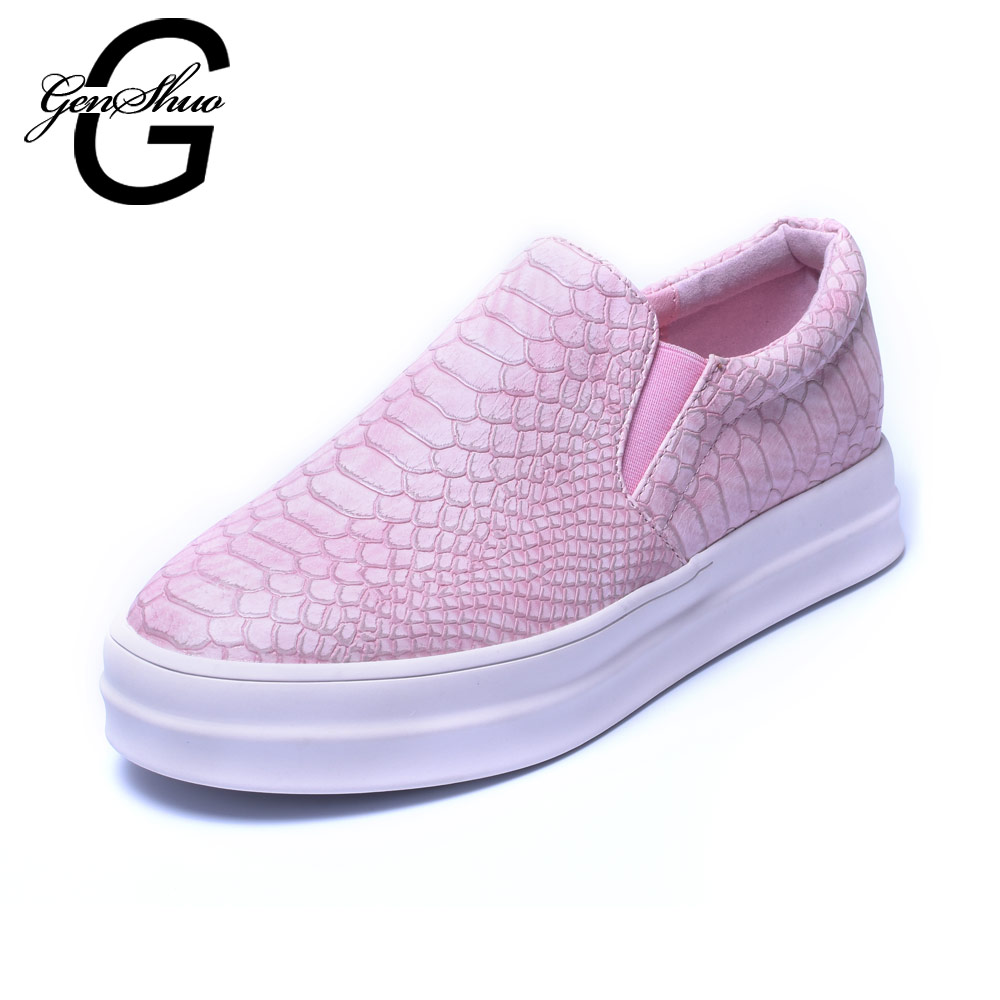 GENSHUO 2017 New Women Loafers Casual Flats Heels Round Toe Black Pink Loafer Shoes Autumn Comfort