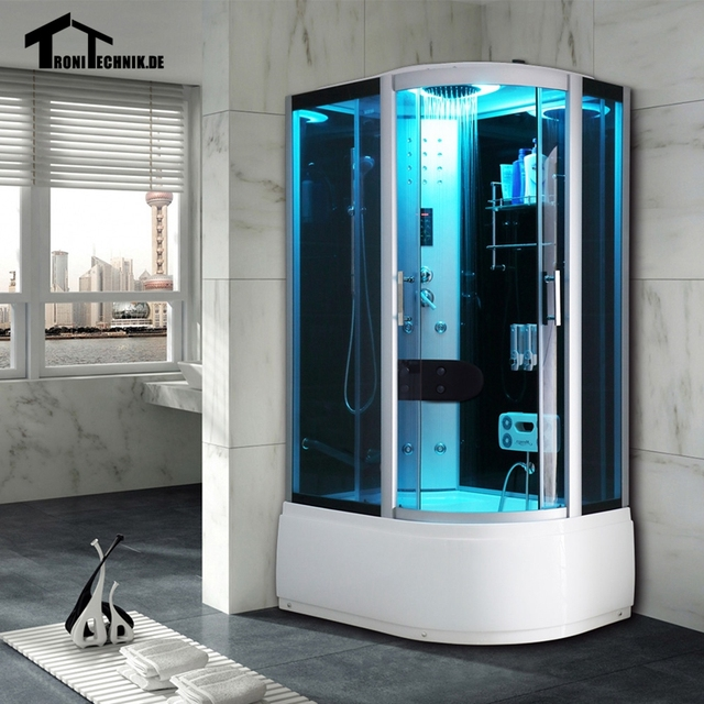 1200mm shower cabin without steam shower enclosure cabin cubicle luxury glass bath room black left hand - Luxury Steam Showers