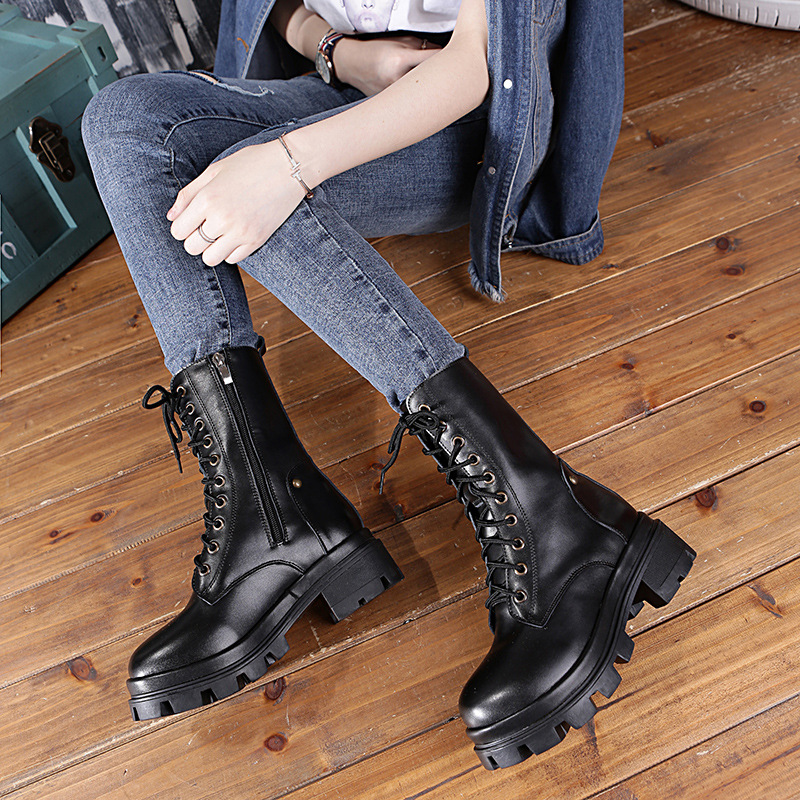 2017 autumn and winter new Martin boots women British handsome knight leather ladies in the tube zipper shoes han edition new winter boots female british wind thick with martin boots with the joker of the students for women s shoes