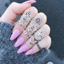 10pcs/Set Boho Vintage Punk Ring Silver Color Crown Crystal Rhinestone Finger Rings For Women Bohemian Ring Set Jewelry Gifts