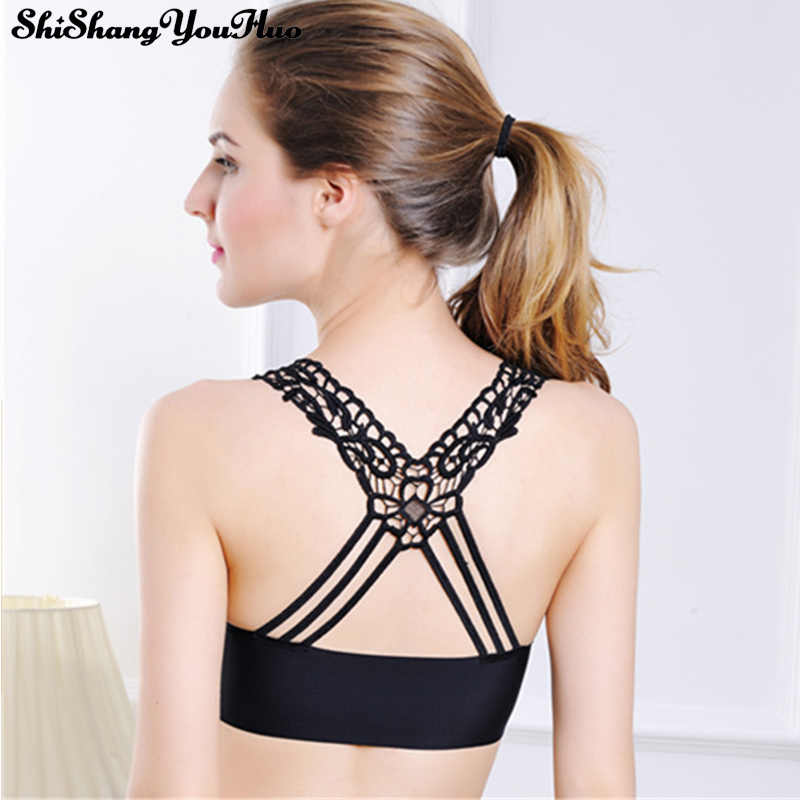 6fdd93916e0 White Black Women Bra Bustier Crop Top Seamless Solid Padded Bralette Bralet  Cami Tank Tube Tops