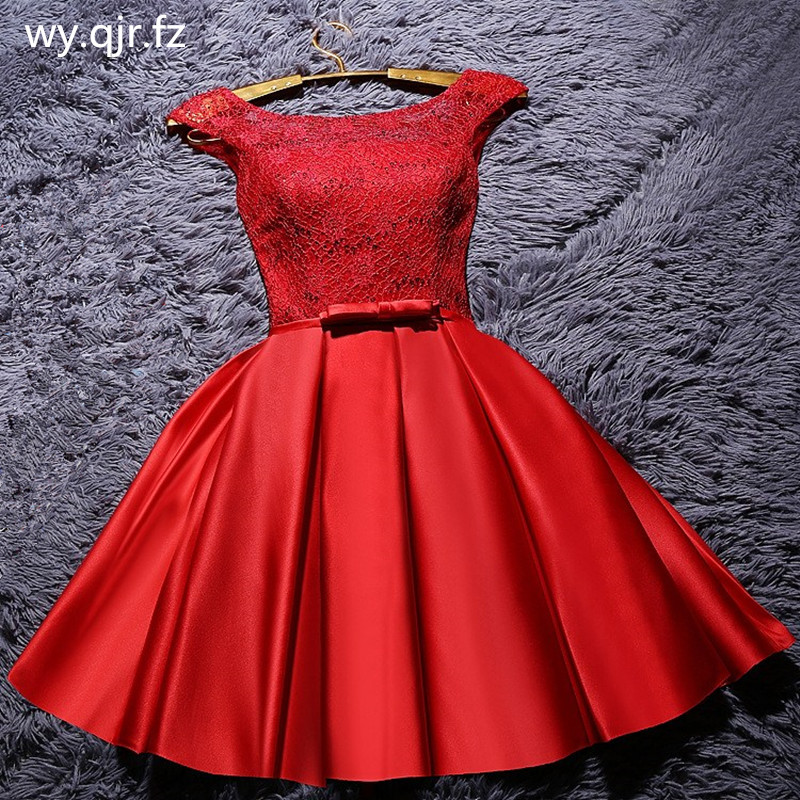 YRPX001B#Lace up red   bridesmaid     dresses   plus size 2019 spring short white bride wedding party prom gown wholesale fashion   dress