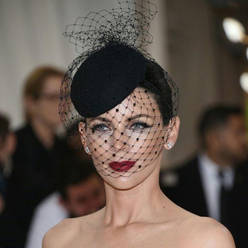 Womens Felt Hat Topper Mesh Fishnet Veil Small Plush Wave Point Decor Hair Clips Wedding Bridal Cocktail   Headwear   Hair Accessory