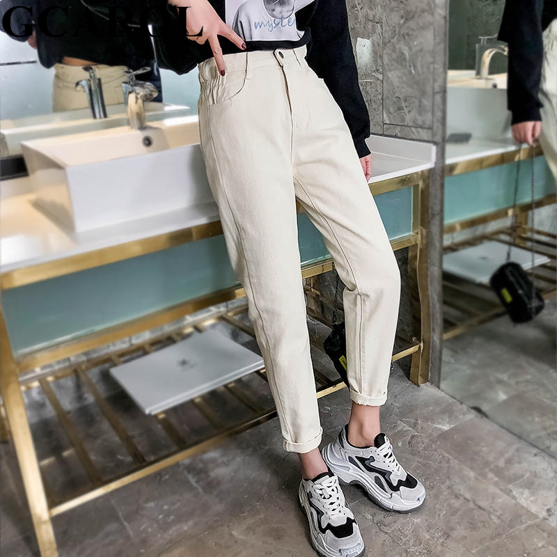 GCAROL 2019 Spring Summer Elastic Waist Retro Old Pants Ankle Length First Love Loose Vintage Straight Pants Plus Size 25-32(China)