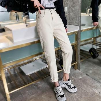 GCAROL 2019 wiosna jesień w pasie Retro stare spodnie do kostek pierwsza miłość luźne spodnie w stylu Vintage proste Plus rozmiar 25-32 tanie i dobre opinie Elastan COTTON Kostki długości spodnie HS-1012 Wysoka Elastyczny pas High Street Jeans Powlekane Średni Kobiety Myte