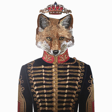 Sew On Uniform Fox Embroidery Patch Embroidered Velvet Applique Animal Patches For Clothing Appliques Parches 46x31cm AC1132
