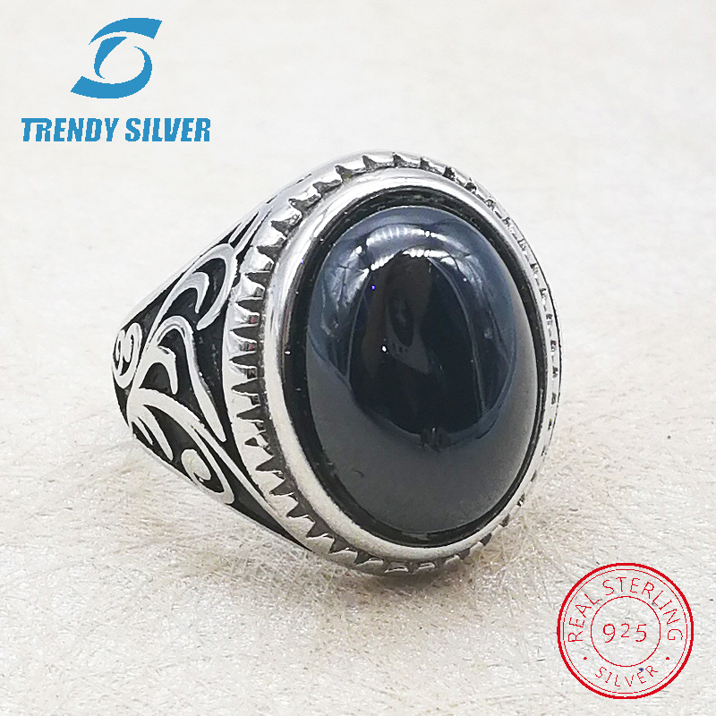 Silver 925 Fine Jewelry Man Rings Men Accessories Turquoise Gemstone Natural Black Onyx Agate Wholesale TRENDY SILVER TCR8093