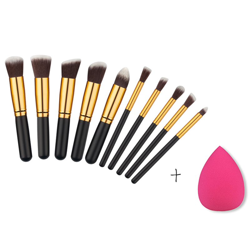 Reckmoon Mini 10pcs Makeup Brushes Foundation Blending Blush Make up Brush + 1 Water Sponge Cosmetics Puff, Beauty tool Kit Set jessup 5pcs black gold makeup brushes sets high quality beauty kits kabuki foundation powder blush make up brush cosmetics tool