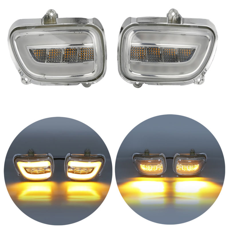 Pair Clear Front LED Turn Signals For Honda F6B 13-17 Goldwing GL1800 2001-2017 2002 2003 2004 2005 2016 2015 front led turn signals smoke for honda goldwing gl1800 2001 2017 f6b 13 17 motorcycle