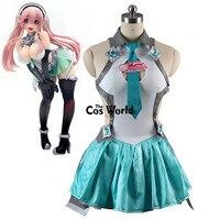 Vocaloid Hatsune Мику SUPERSONICO гоночный костюм Короткие Топы платье майка форма наряд аниме Костюмы для косплея
