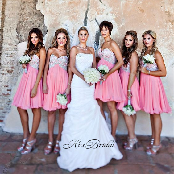 New Design Short   Bridesmaid     Dresses   2017 Sweetheart Neck Off the Shoulder A-Line Beading Chiffon Prom Party   Dresses