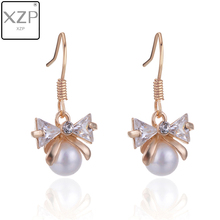 XZP Premium Fashion 1 Pair Women Earrings Lady Charming CZ Pearl Ear Drop Cute Pink Bowknot Earring Jewelry Gift Bijoux