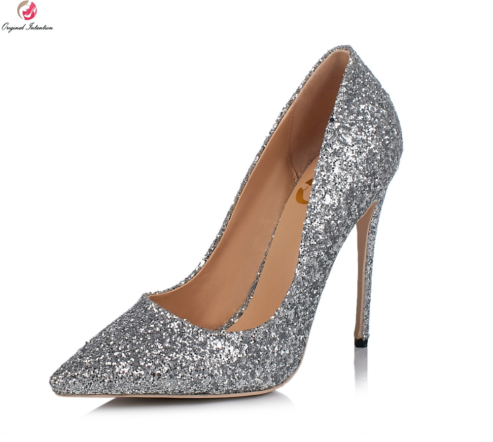 Original Intention Super Sexy Women Pumps Fashion Glitter Pointed Toe Thin High Heels Multi Colors Shoes Woman Plus Size 3-10.5 plus size 30 43 2016 fashion sexy round toe sweet colorful thin high heels hot sale woman shoes women s pumps nude