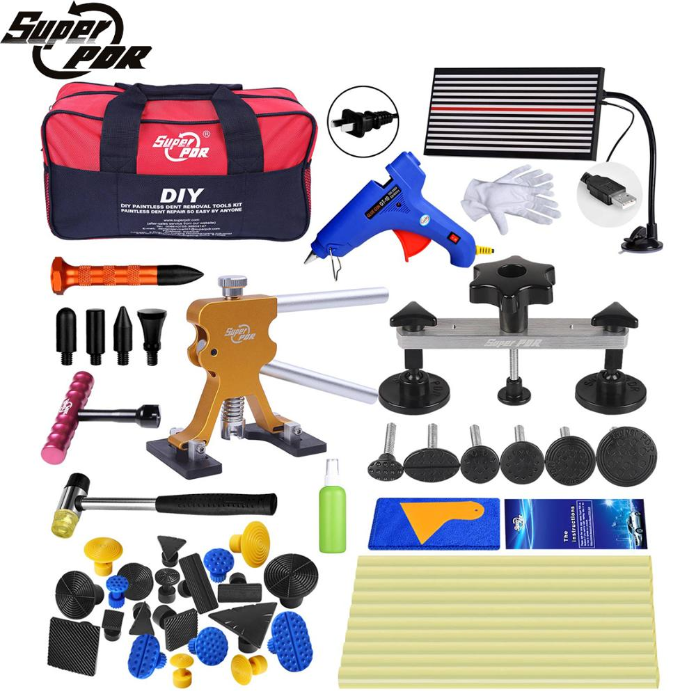 Super Best PDR Tools Dent Puller Kit Suction Cup Car Dent Remover Kit Glue Tabs Pulling Paintless Dent Repair Fix Auto Hand Tool pdr tools for car kit dent lifter glue tabs suction cup hot melt glue sticks paintless dent repair tools hand tools set