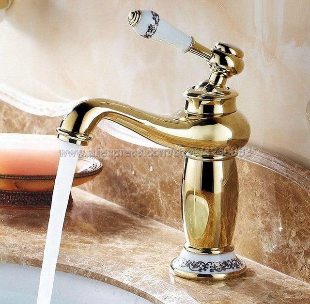 Купить смесители для раковины с золотой отделкой смеситель ванной комнаты