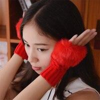 Liva女の子ファッションかわいいフェイクラビットファー手冬ウォーマーニット指なし手袋ミトン10色選べる5ペア/パッ