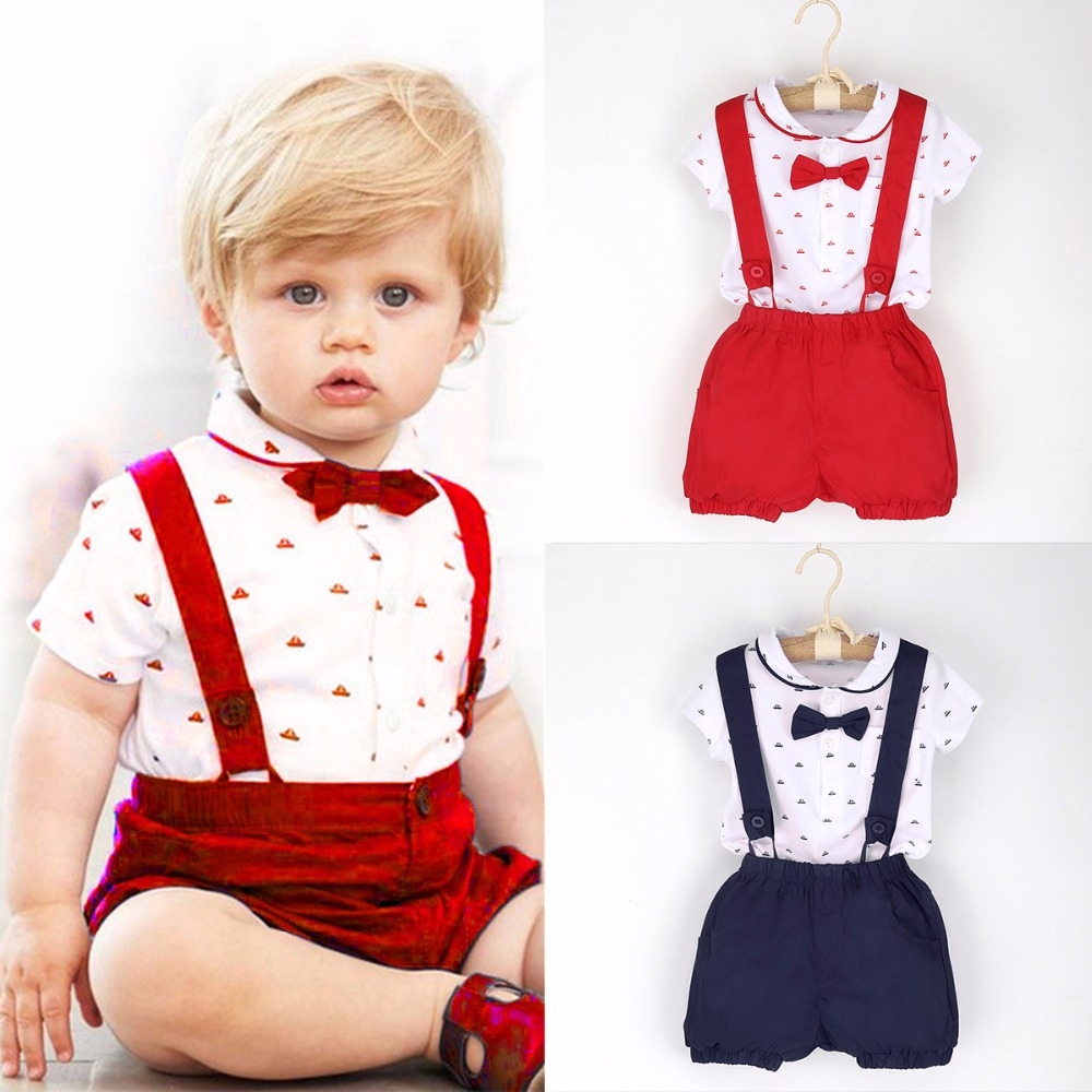 2017 Summer 2pcs Toddler Baby Kids Clothes Infant Boys Gentleman Outfits T-shirt Romper Tops + Suspender Shorts Set 1-6T baby boys clothes set 2pcs kids boy clothing set newborn infant gentleman overall romper tank suit toddler baby boys costume