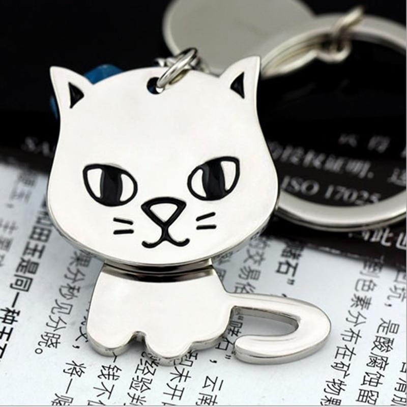 2x Cat Keyrings Black White Cat Kitten Lover Keychain Couple Pair Crazy Gift UK