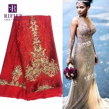 Red And Gold Sequined Mesh Tulle Lace Fabric Amazing Sexy Guipure Design Evening Dresses Lace Material 2018 African Quality Lace(China)