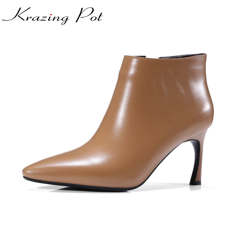 Krazing Pot shoes women genuine leather pointed toe strange stiletto high heels zipper women autumn winter beauty lady shoes L78 фильтр для воды новая вода expert osmos mo520