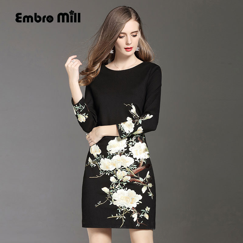High quality black dress for women autumn & winter O-neck wrist sleese embroidery slim lady A-line floral casual dresses M-5XL women s embroidery bomber jacket 2017 autumn high quality floral printed jacquard black