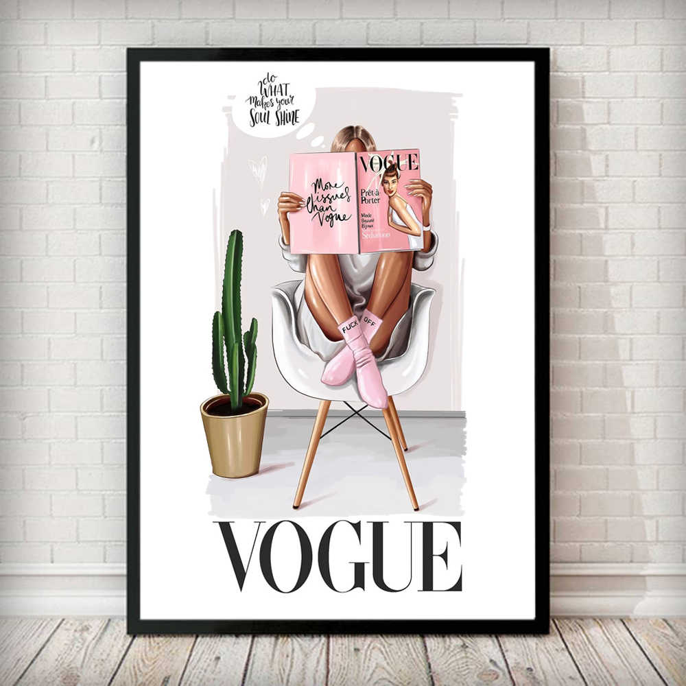Fashion Vogue Woman Poster Letter Nordic Wall Pop Art Canvas Painting Paris Posters and Prints Modern Living Room Decor for Home