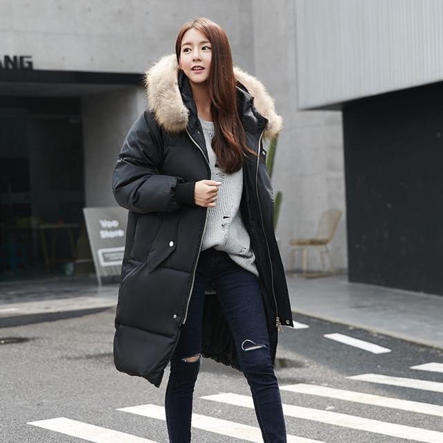 2016 Nueva Moda de gran Tamaño de Las Mujeres Chaqueta acolchada de invierno Engrosada Abajo Mujeres Abrigo de algodón cuello de Piel Con Capucha larga ocasional chaqueta