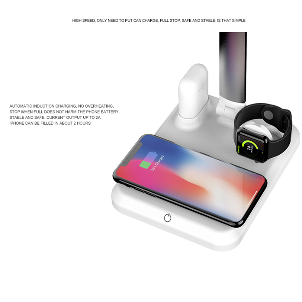 Image 5 - 4 In1 Wireless Charger Led Desk Lamp Luminaria Multifunction Led Table Lamp 5W Touch Table Lamp for IPhone Airpods-in Desk Lamps from Lights & Lighting