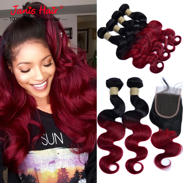 7a Armenian Virgin Hair With Lace Closure Ombre Body Wave 1b