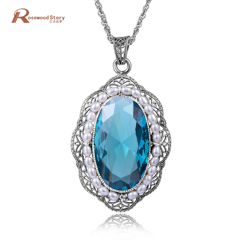 Fashion authentic 925 sterling silver crystal necklace pendant vintage big aquamarine stone natural pearl women handmade pendant