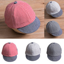 2018 Hot Children Snapback Caps Baseball Cap Summer Newborn Baby Girls Boy  Princess Infant Sun Cap Cotton Beret Hats Striped 26ac83c6a0a1