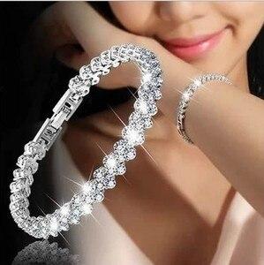 New Fashion Roman Style Woman Bracelet Wristband Crystal Bracelets Gifts Jewelry Accessories Fantastic Wristlet Trinket Pendant(China)