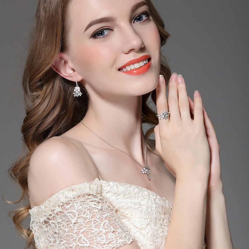 100% Real 925 เงินสเตอร์ลิง Poetic Daisy Cherry Blossom จี้สร้อยคอ CZ สีชมพูสำหรับผู้หญิงเครื่องประดับของขวัญแฟน