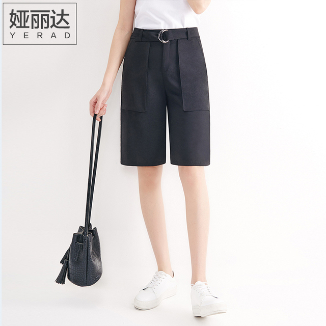 black knee length shorts women's