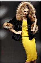 Hot Womens Real Rabbit Fur Coat Jacket with Raccoon Fur Hoody Winter Warm Outwear with Hoody LX00039