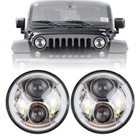 7 Inch LED Headlight with White Halo ring Angel Eyes drl and Amber Signal for off road truck Jeep Wrangler JK TJ CJ