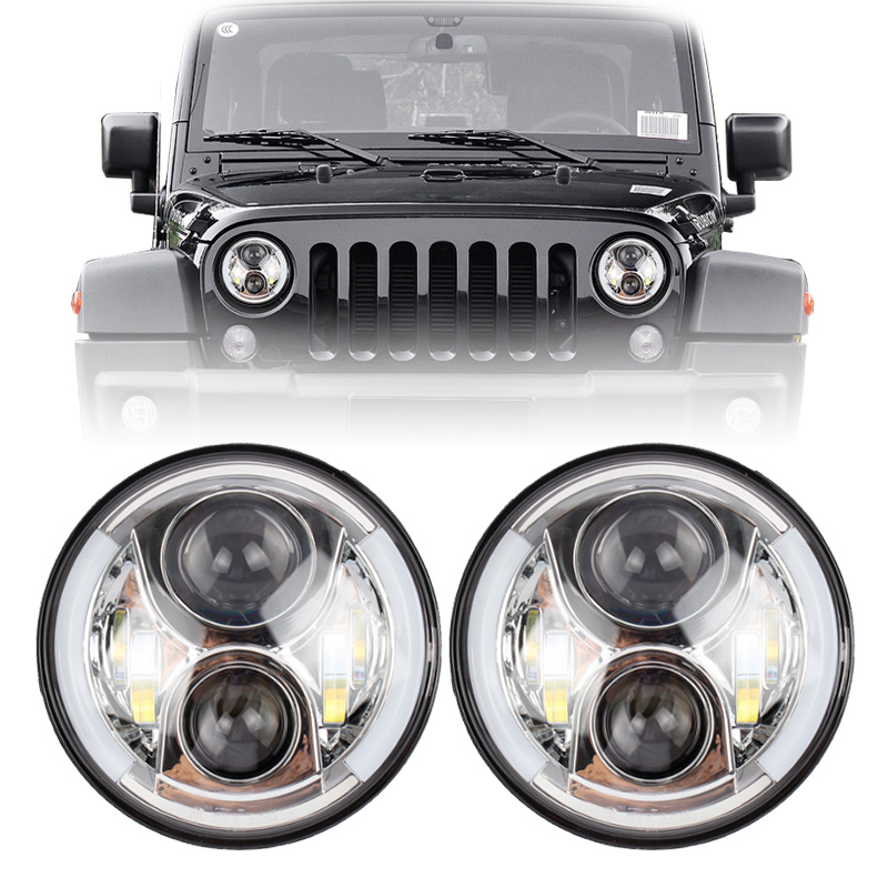 7 Inch LED Headlight with White Halo ring Angel Eyes drl and Amber Signal for off road truck Jeep Wrangler JK TJ CJ pair 7 inch round high low led headlight with amber signal halo ring angle eyes with drl halo for 97 15 jeep wrangler jk tj