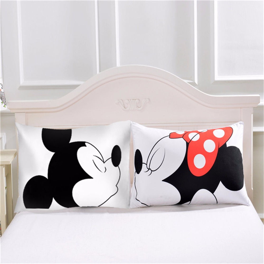 Mickey Mouse Pillowcase Romantic Pillow Case Art Stripe Soft Pillow Cover Gift Home Textiles Geometric Decorative 2Pcs/Pair