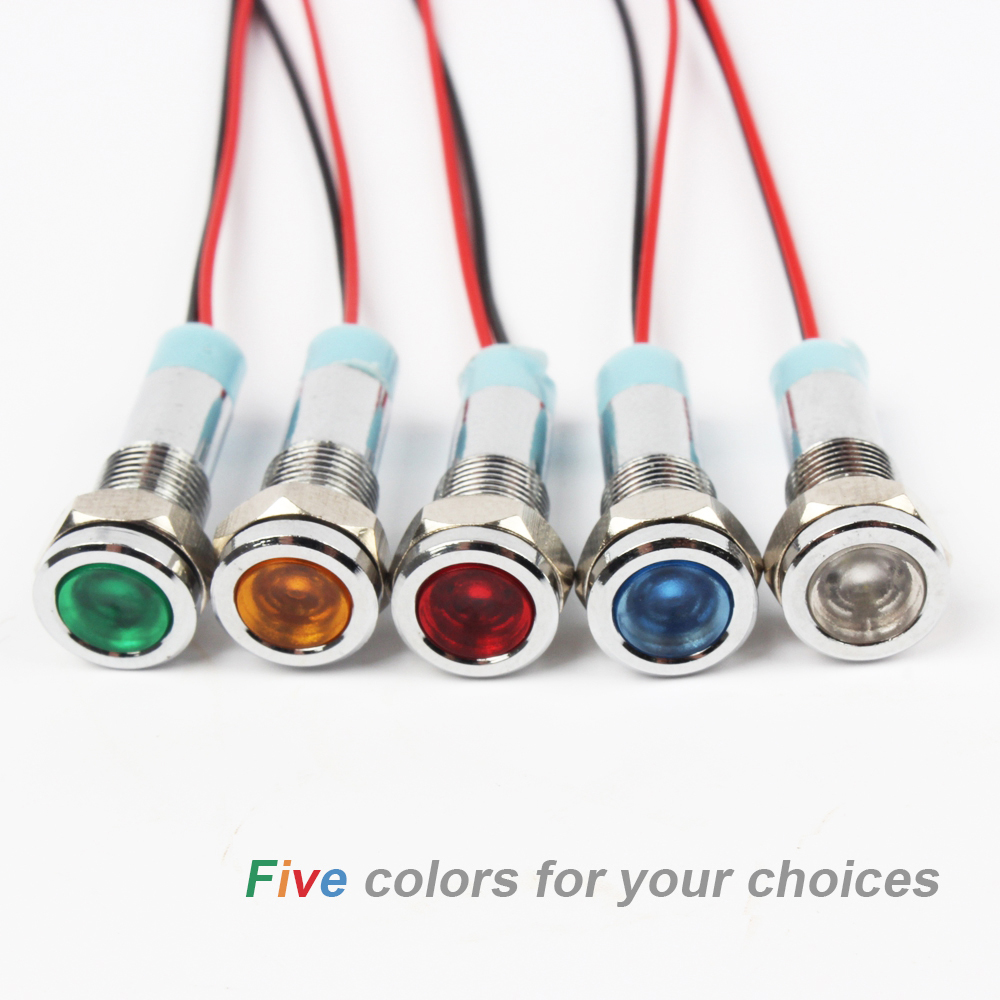 6ZSD.X LED Metal Indicator Light 6mm Waterproof Signal Lamp LIGHT 6V 12V 24V 220v Wires Connect  Brass Nickel Plating