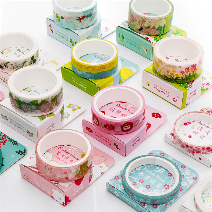 Japanese Style Flowers House Fuji Washi Tape DIY Scrapbooking Sticker Label Masking Tape School Office Supply