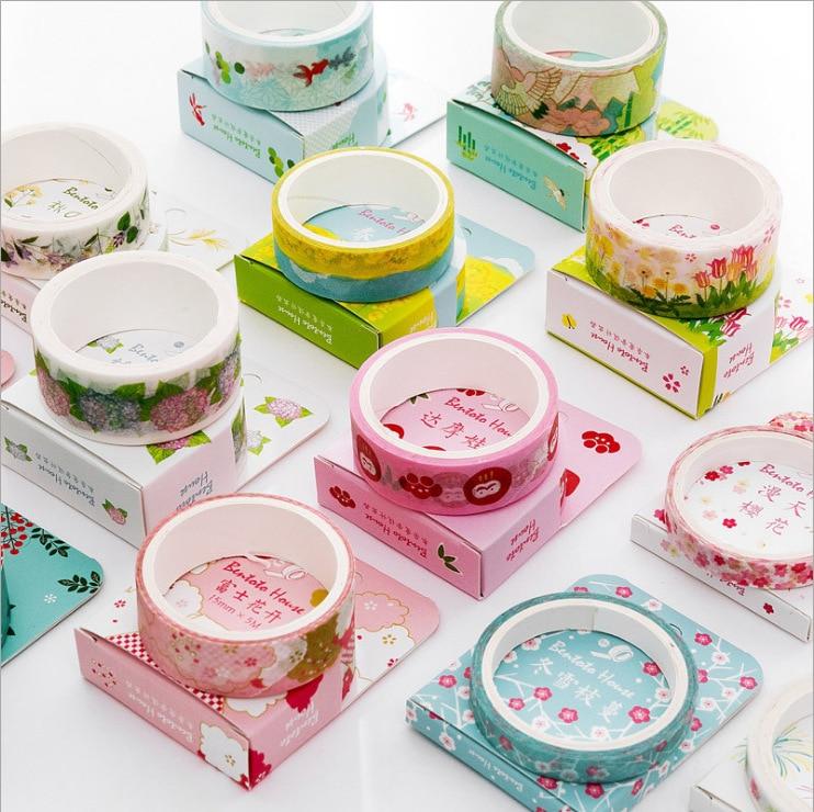 Japanese Style Flowers House Fuji Washi Tape DIY Scrapbooking Sticker Label Masking Tape School Office Supply